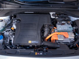 Thegasoline engine offers 104 hp, while the electric motor offers 60 hp.