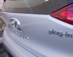 "The exterior of the Ioniq PHEV resembles its earlier siblings except for the ""plug-in"" badging."