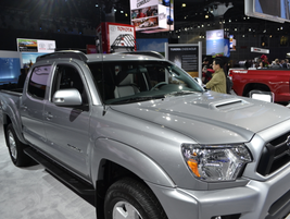 The Toyota Tacoma was on view in both a standard version and an upfit one.