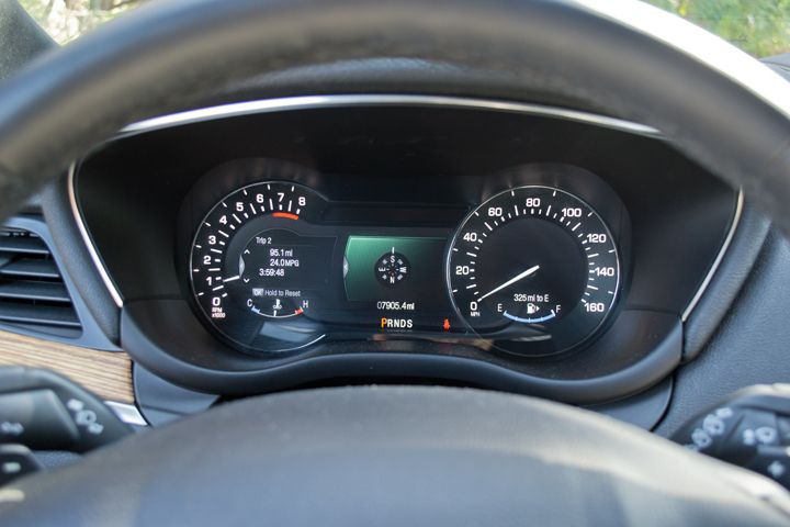 The in-dash display provides trip data and fuel use.