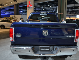 The tailgate of a Ram 1500 light-duty truck.