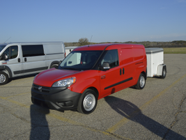 A 2016 Ram ProMaster City Cargo towing a 2,000 pound trailer.