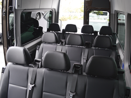 The short wheelbase van can seat up to 12 passengers and has a maximum payload capacity of 2,803...