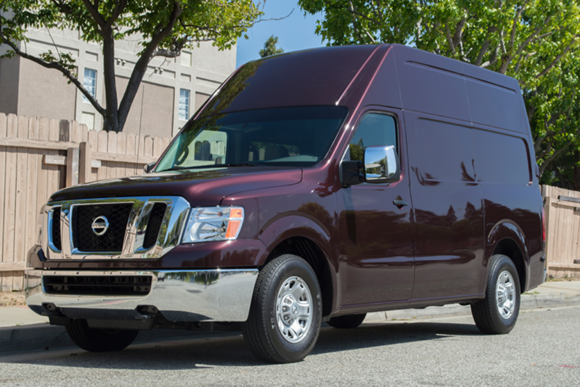 The Nissan NV cargo van is offered in standard and (shown here) high-roof models.