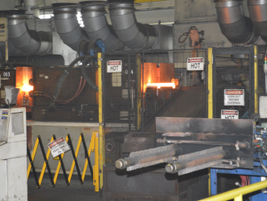 The forge, like other systems in the Decherd Powertrain Plant, is highly automated.