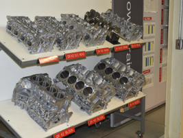 Examples of engine components of the various engine types produced at the Decherd Powertrain Plant.
