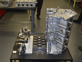 After being run on the dynamo, the engine is disassembled and examined by technicians for signs...