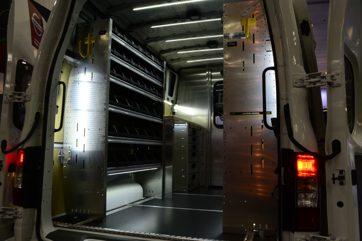 Showcasing its upfit options, Nissan displayed an NV3500 van equipped with storage solutions...