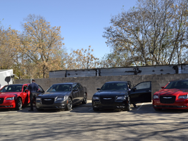 These Chrysler 300 sedans lined up for the ride and drive.