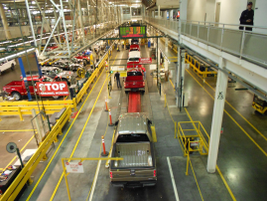 The F-150 assembly line in Dearborn, Mich.