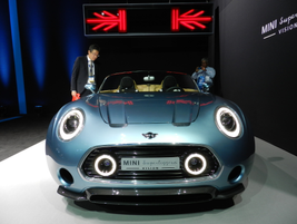 The Mini Superleggera Vision Roadster is a two-seat concept car with retro styling touches.