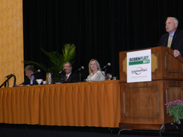 Panelists from GM, Ford, Toyota, and Honda spoke about their companies' sustainability offerings...
