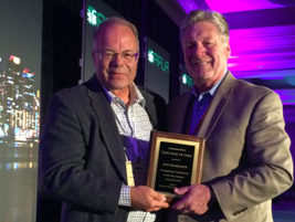 Ron Shoemaker (right) was one of three 2016 inductees to the Fleet Hall of Fame.