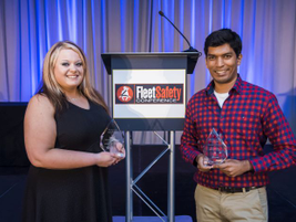 Fleet Safety Awardees Kelsey Wolfe of Southern Freight Services and Nikith Rajendran of...