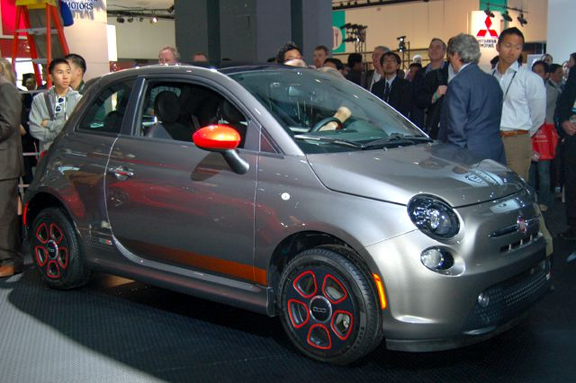One of Chrysler's Fiat-brand debuts was its all-new 500e electric vehicle.