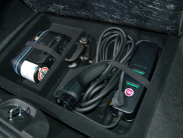 The Fiat 500e can charge in 4 hours with its 240V on-board charging module.