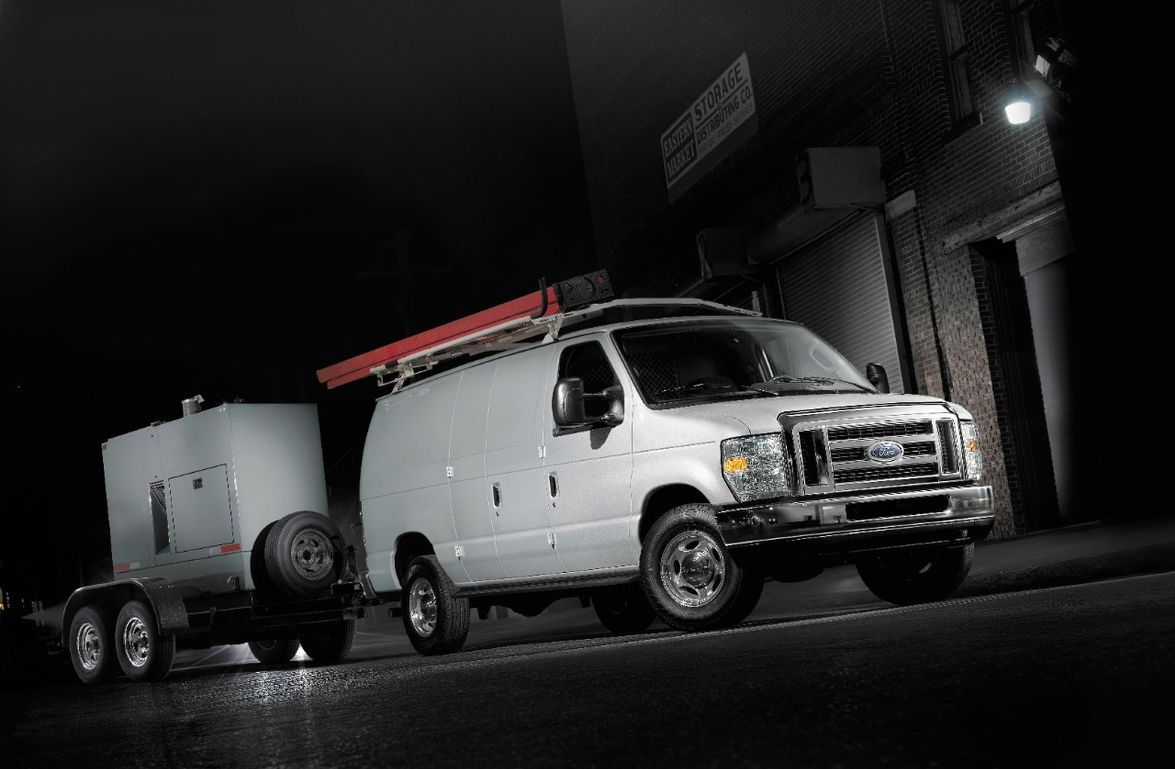 Ford E-Series vans have a towing capacity of up to 10,000 lbs. when properly equipped.