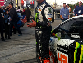 Gymkhana driver Ken Block did a drifting demonstration in the all-new 2014-MY Ford Fiesta.