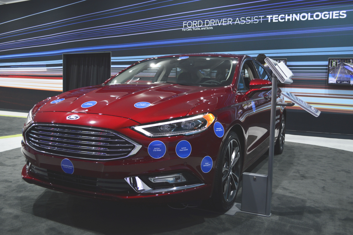 Ford Fusion with driver assist technologies highlighted