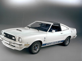 The 1976 Mustang II King Cobra was offered only with a V-8 to bolster the car's performance image.