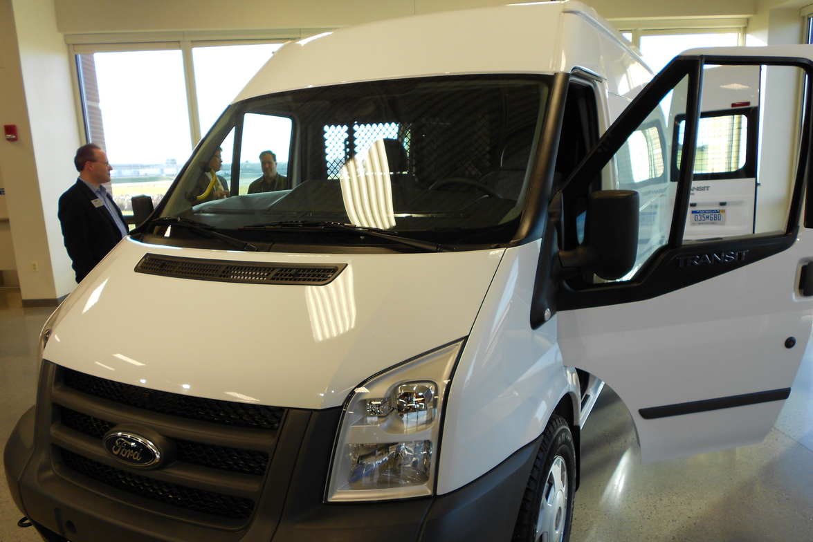 The Ford Transit commercial van shown at the commercial truck showcase.