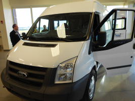 TheFord Transit commercial van shown at the commercial truck showcase.