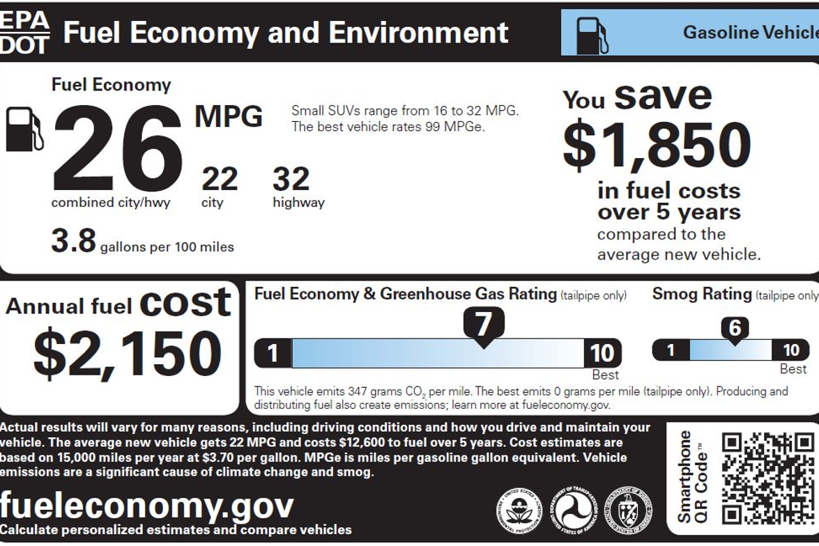 This is the label for a standard gasoline-fueled vehicle.