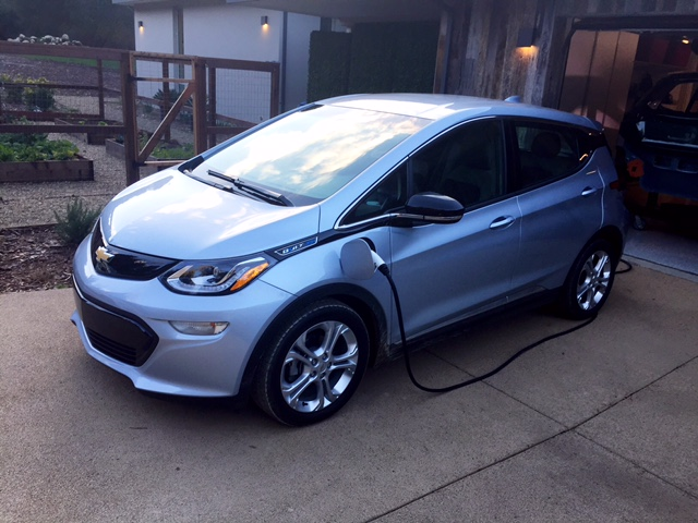 Chevrolet showed the vehicle at a home in Menlo Park that was equipped with a DC fast charger.