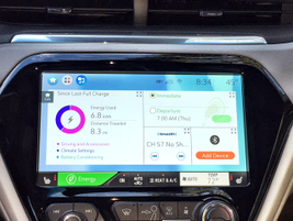 This screen breaks down energy usage and gives data about the trip, media, and Bluetooth devices.