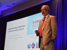 G. Mustafa Mohatarem, Ph.D., chief economist, General Motors, speaks during the opening keynote...