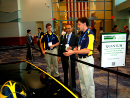 The University of Michigan Solar Car Team displayed its solar-powered vehicle. The University of...