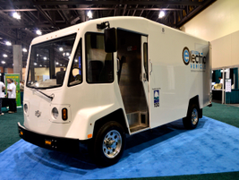 Boulder Electric Vehicle DV500 delivery van belonging to the City of Galveston, Texas, goes up...