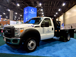 Landi Renzo brought an F-450 dedicated CNG truck with Knapheide flatbed body to the conference.