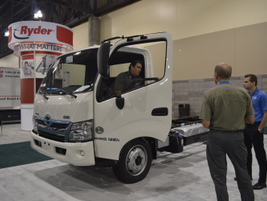 The 2013 Hino 195H has a 5L diesel-electric hybrid system and runs on B-20.
