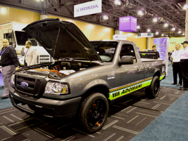 Adomani provides  all-electric or hybrid conversions to fleets. Pictured is a converted Ford Ranger.