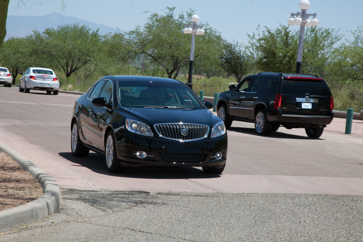 The 2013-MY Buick Verano being test-driven at the ride-and-drive portion of the event.
