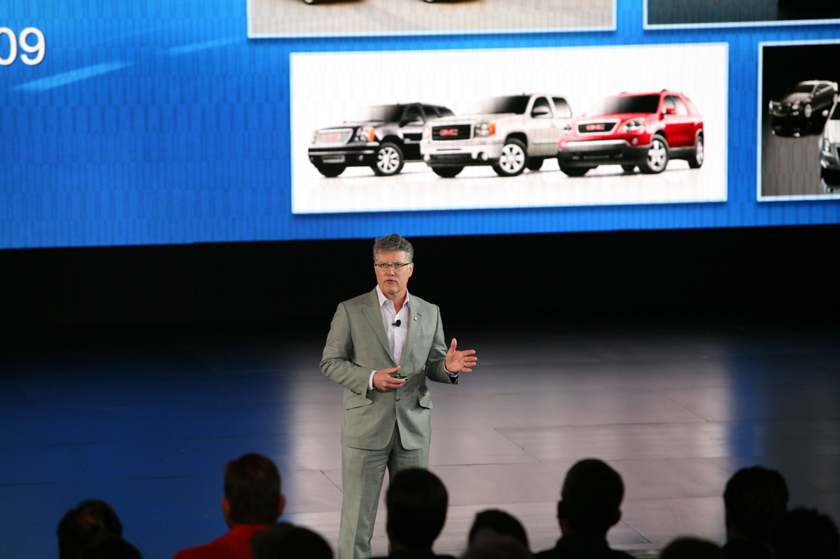 GM's Don Johnson speaks to the audience during the product preview.