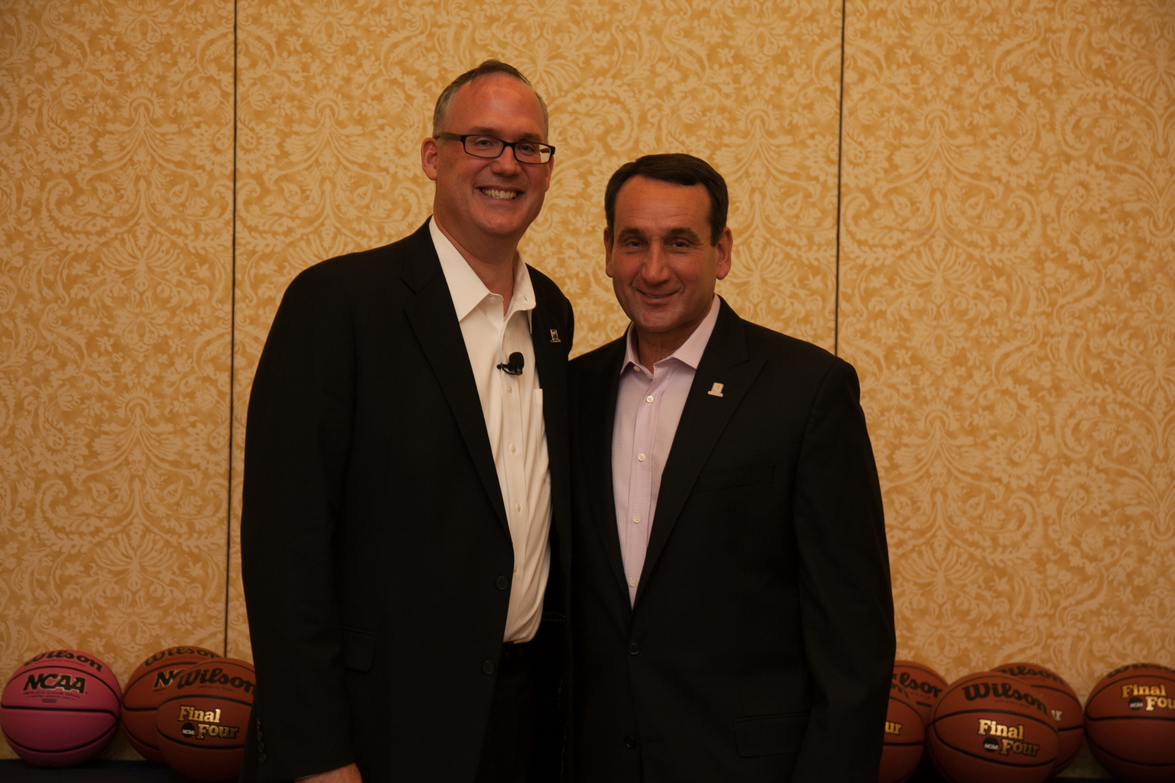 GM's Ed Peper and Duke Basketball Coach Mike Krzyzewski pose for a photo.