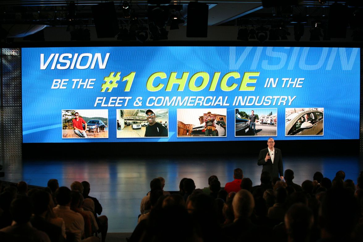 U.S. Vice President, Fleet and Commercial Sales Ed Peper (above and left) emceed the annual GM...