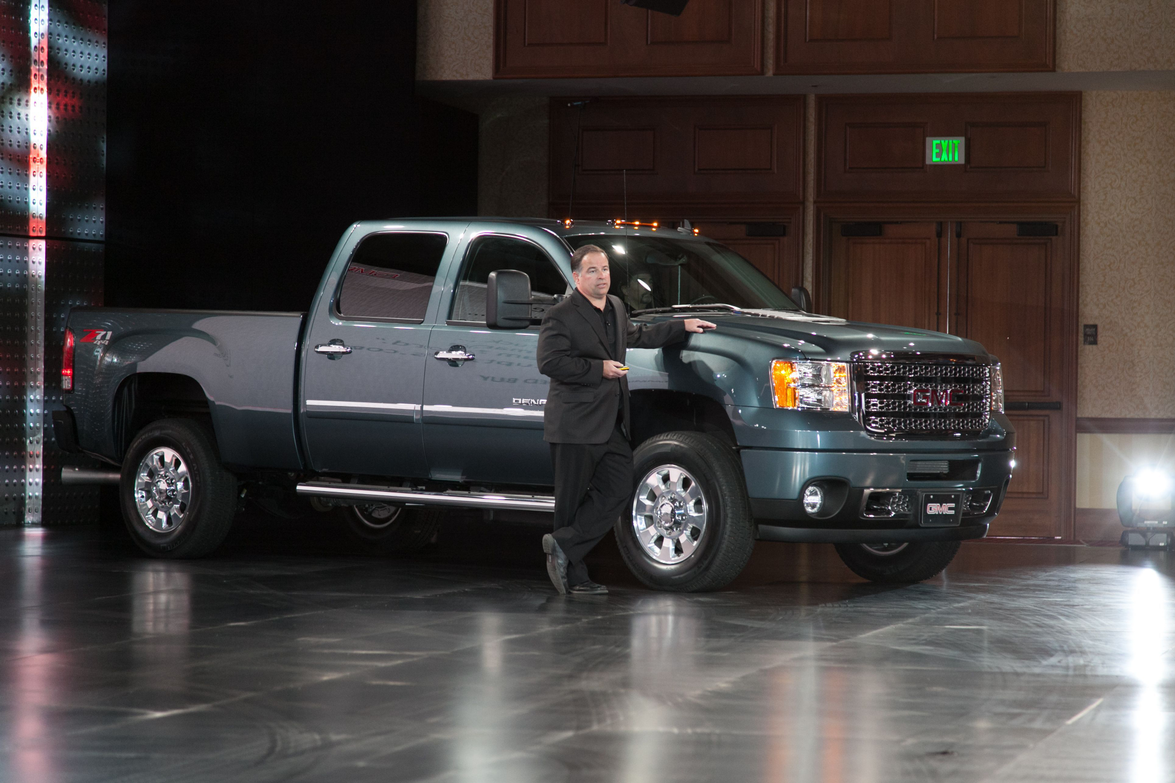 Tony DiSalle, GM's U.S. vice president Buick GMC Marketing, introduced the 2013 GMC Sierra HD...