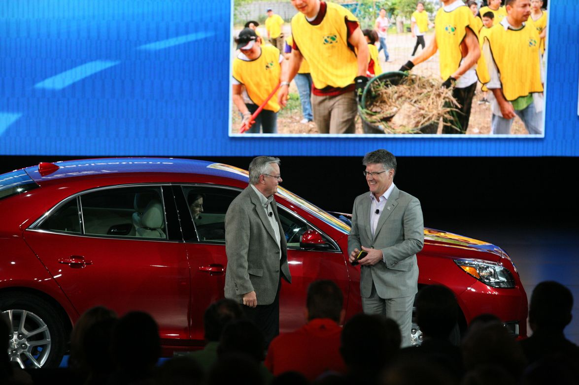 The Chevrolet Malibu lineup was featured during the presentation.