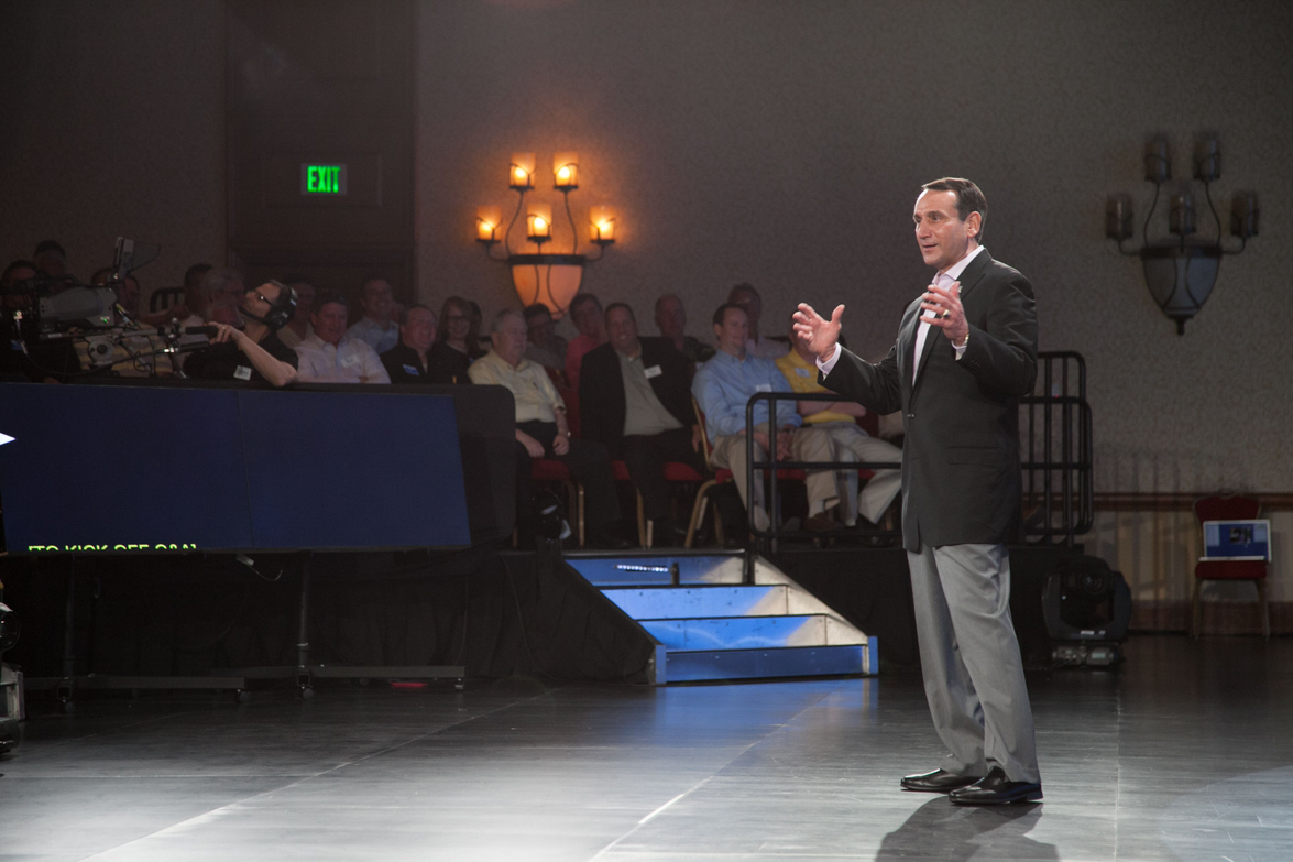 Duke Basketball Coach Mike Krzyzewski presents his keynote at the product preview.