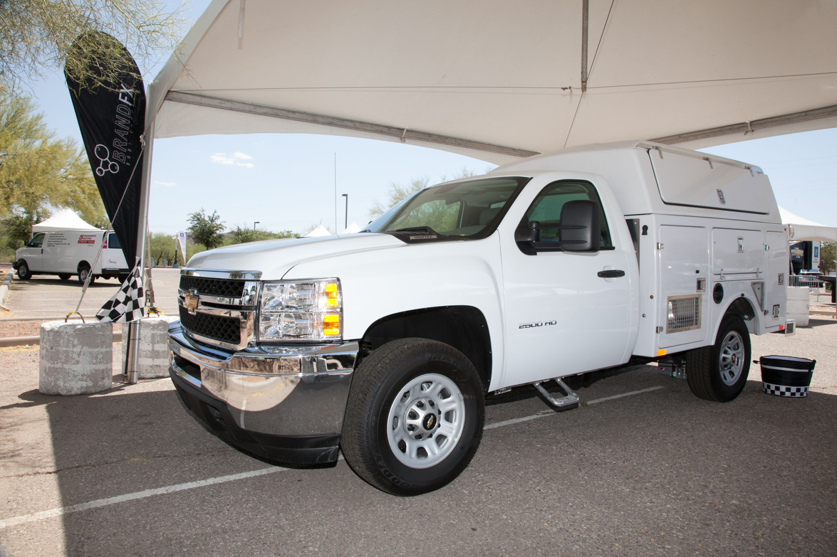 A Chevrolet Silverado 2500 showing possible upfit options.