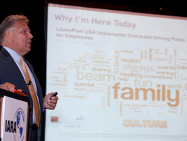 Mike Pitcher, president and CEO of LeasePlan USA, was the Roundtable's opening day keynote...