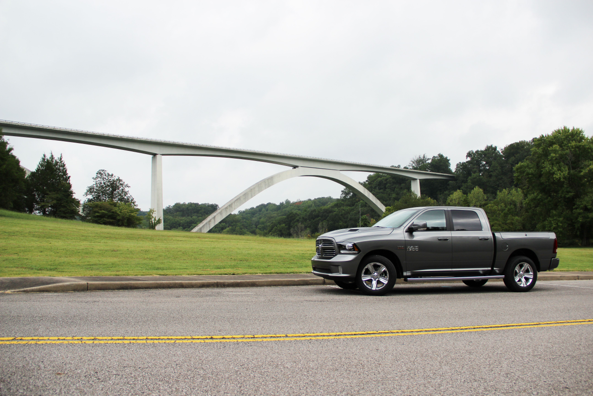 In the background, the Natchez Trace Parkway Bridge is the nation's first segmentally...