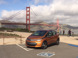 The view from the parking lot above Fort Point near the Golden Gate Bridge.