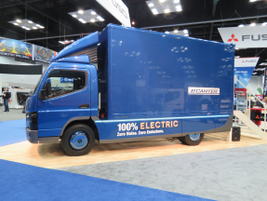 Side view of Mitsubishi Fuso's eCanter plug-in electric truck cioming here by end of year....