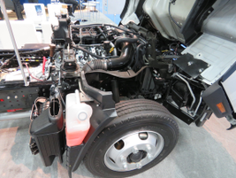 Mitsubishi Fuso showed off a prototype FE Series truck powered by a gasoline-fueled Vortec V-8...