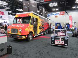 Freightliner Custom Chassis Corp. rocked their booth. Photo: David Cullen