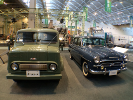 Two examples of postwar Toyota vehicles, the Toyopet Toyoace SKB (left) and the Toyopet Crown.
